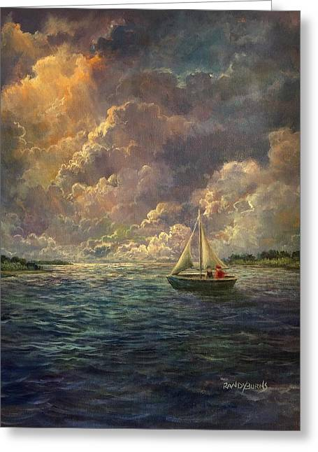 Sailing The Divine Light Greeting Card