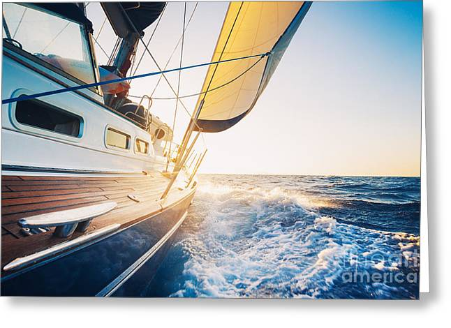 Sailing To The Sunrise Greeting Card