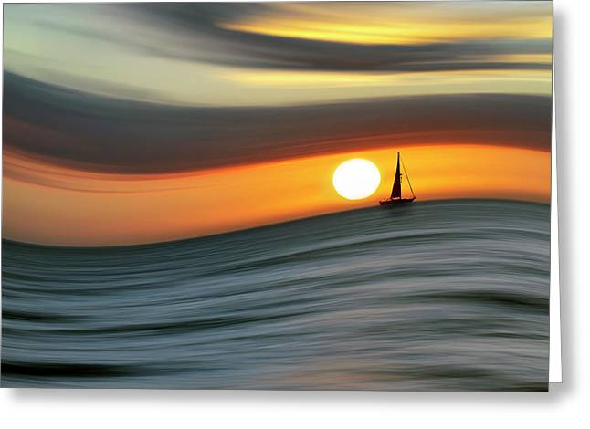 Sailing To The Sunset Greeting Card