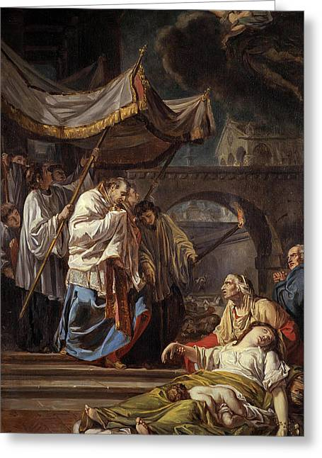 Saint Charles Borromeo Bringing The Assistance Of Religion To The Plague Victims Of Milan, 1785 Greeting Card