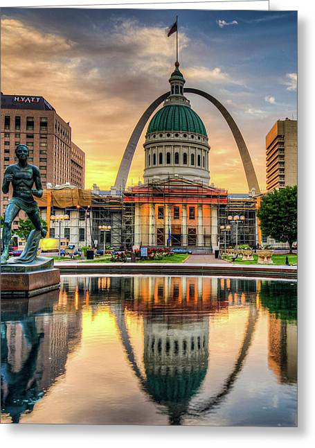 Saint Louis Skyline Morning Cityscape 1x1 Greeting Card