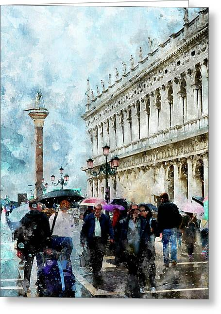 Saint Theodore Sculpture At Saint Mark Square In Venice, Italy - Watercolor Effect Greeting Card
