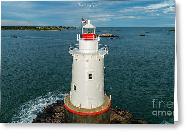 Greeting Card featuring the photograph Sakonnet Light  by Michael Hughes