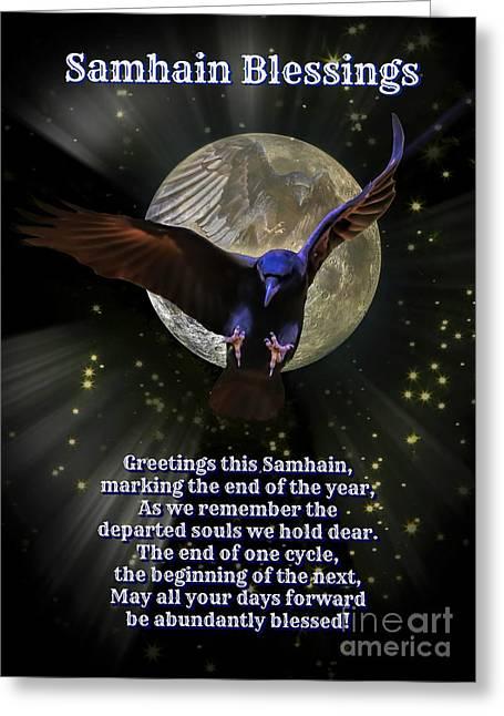 Samhain Blessings Pagan New Year Raven And Moon Greeting Card