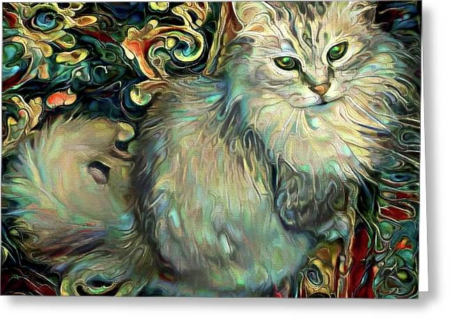 Samson The Silver Maine Coon Cat Greeting Card
