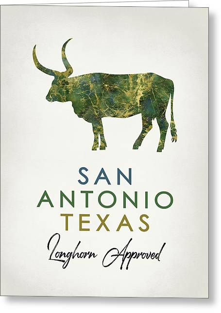 San Antonio Texas Dark Marble Greeting Card
