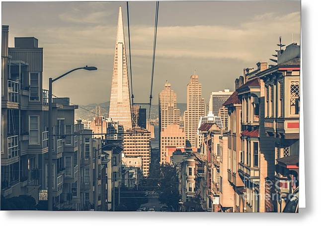 San Francisco Cityscape At Sunset With Greeting Card