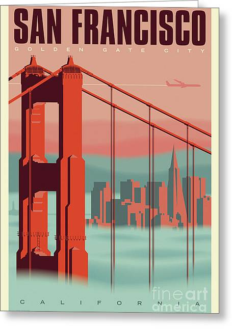 San Francisco Poster - Vintage Travel Greeting Card