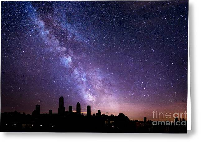 Greeting Card featuring the photograph San Gimignano Stars by Scott Kemper