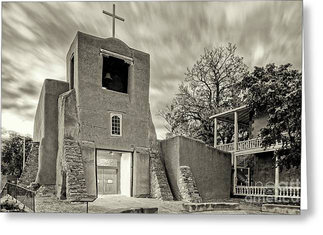 San Miguel Mission And Chapel - Santa Fe The City Different New Mexico Land Of Enchantment Greeting Card