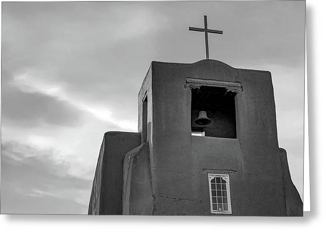 San Miguel Mission Chapel - Santa Fe New Mexico In Monochrome Greeting Card
