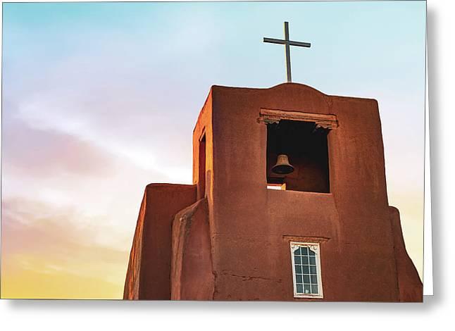 San Miguel Mission Chapel - Santa Fe New Mexico Sunrise Greeting Card