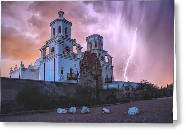 San Xavier Mission Lightning Greeting Card