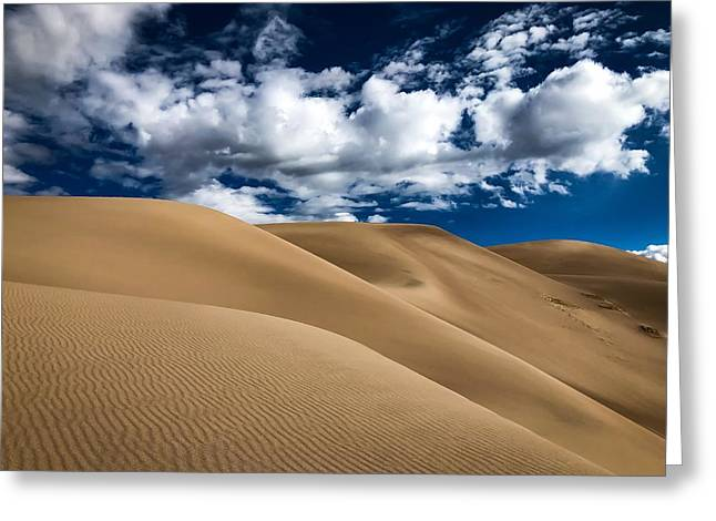 Sand Dunes Under A Blue Sky Greeting Card