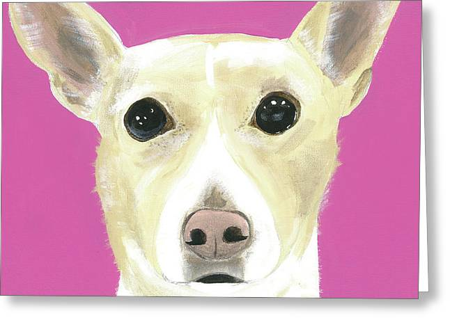 Greeting Card featuring the painting Sandy's Lulu by Suzy Mandel-Canter