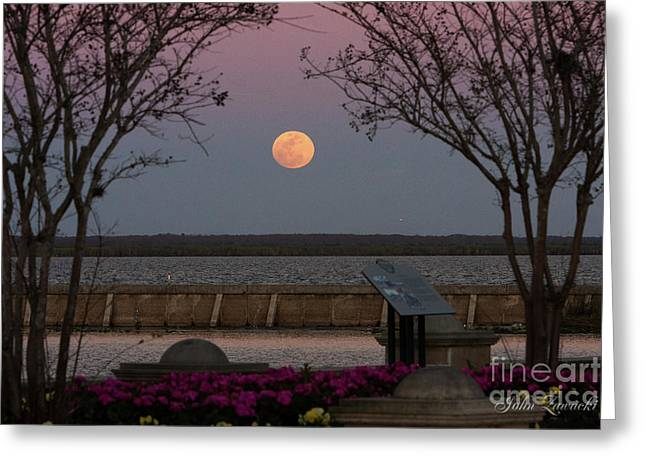 Sanford Riverwalk-moonrise-9395 Greeting Card