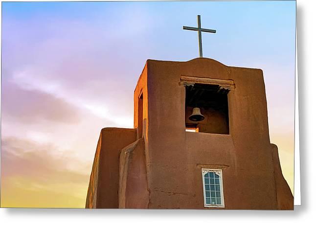 Santa Fe San Miguel Mission Chapel At Sunrise Greeting Card