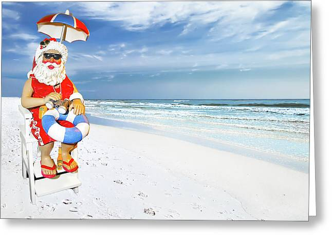 Santa Lifeguard Greeting Card
