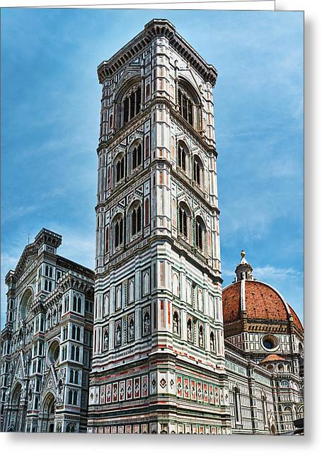 Santa Maria Del Fiore Cathedral Doorway And Bell Tower Greeting Card