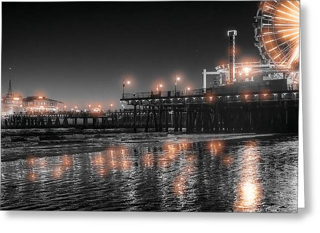 Greeting Card featuring the photograph Santa Monica Glow By Mike-hope by Michael Hope