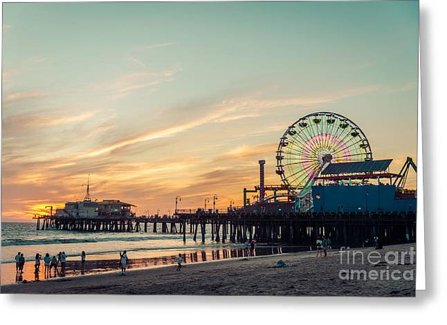 Santa Monica Pier At Sunset, Los Angeles Greeting Card