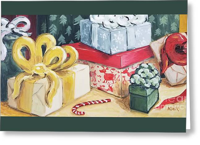 Greeting Card featuring the painting Santa Was Here by Maria Langgle