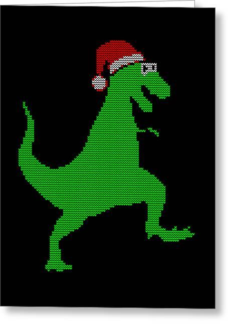Santasaurus Ugly Christmas Sweater Greeting Card