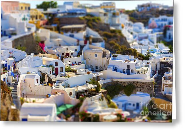 Santorini Island, Greece, Tilt-shift Greeting Card