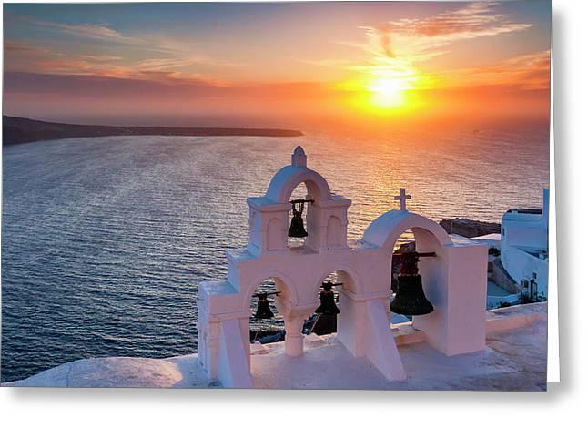 Santorini Sunset Greeting Card