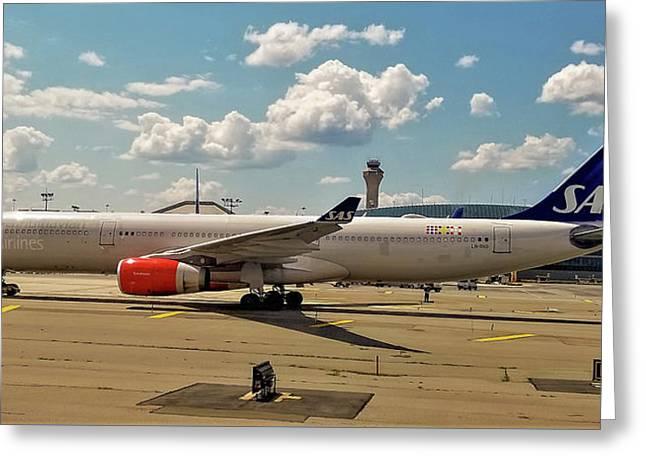 Sas Airbus A330 At Newark Liberty International Airport Greeting Card