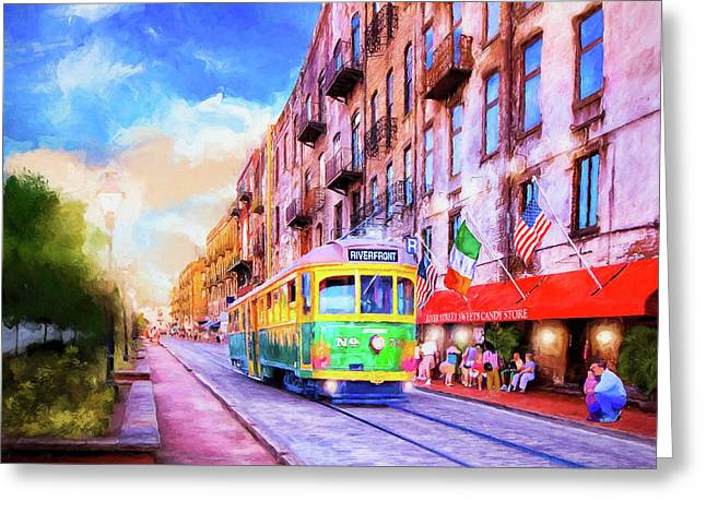 Greeting Card featuring the mixed media Savannah River Street Streetcar by Mark Tisdale