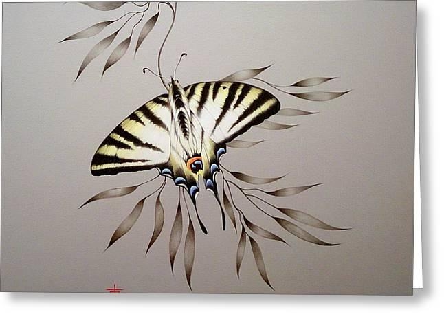 Scarce Swallowtail On Bamboo Greeting Card