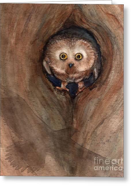 Scardy Owl Greeting Card
