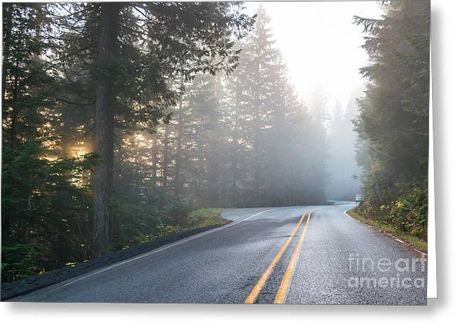 Scene Of Road To Mt Baker  On The Greeting Card