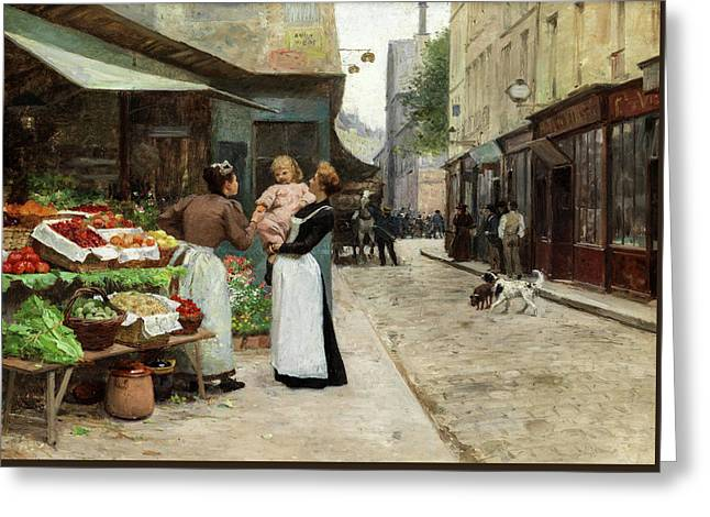 Scene On A French Market, Old Paris Greeting Card