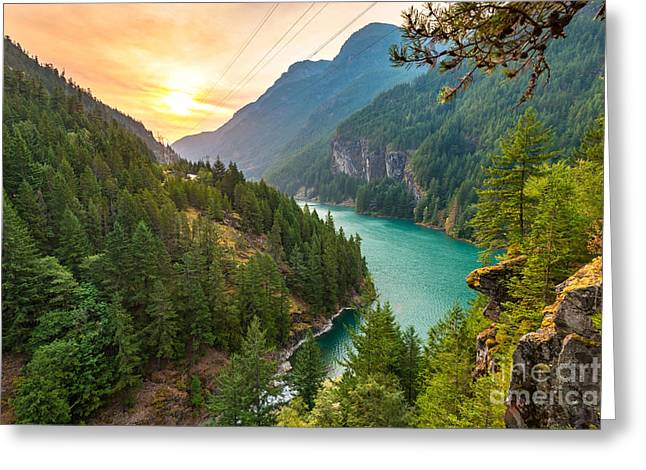 Scene Over Diablo Lake When Sunrise In Greeting Card by Checubus