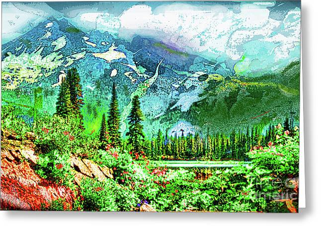 Greeting Card featuring the digital art Scenic Mountain Lake by James Fannin