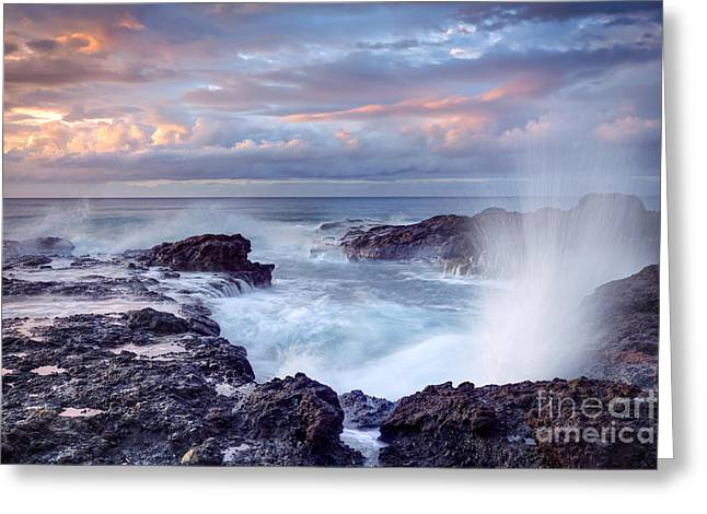 Scenic View Of Blowhole On Rocky Greeting Card