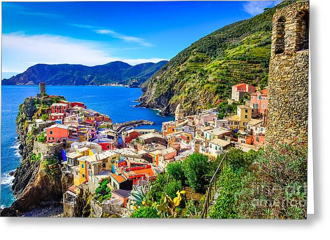 Scenic View Of Colorful Village Greeting Card