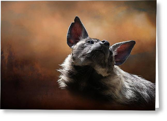 Greeting Card featuring the photograph Scenting The Air - Striped Hyena by Debi Dalio