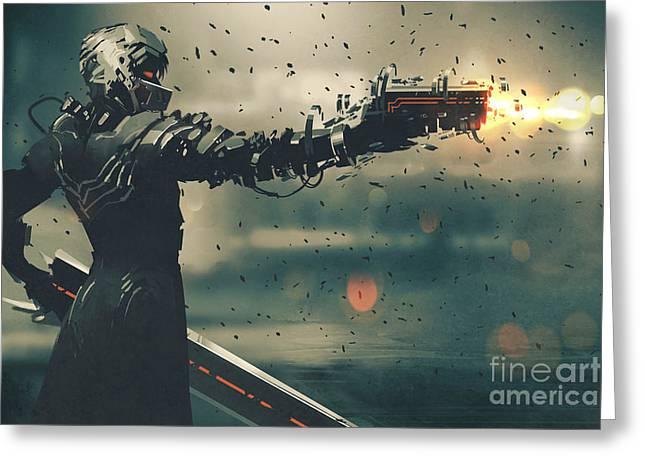 Sci-fi Gaming Character In Futuristic Greeting Card
