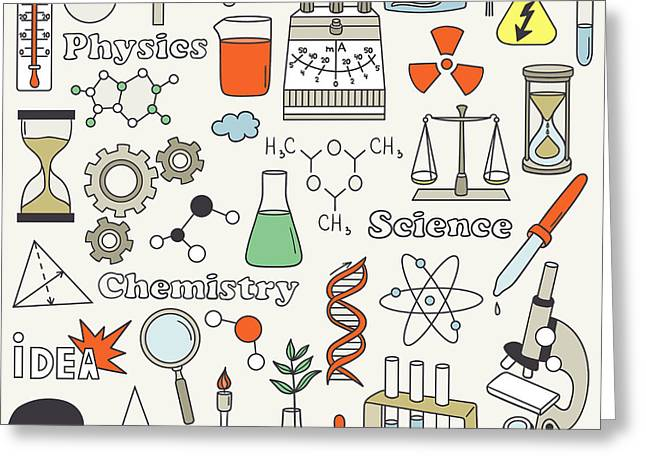 Science Icon Set Hand Drawn. Doodle Greeting Card