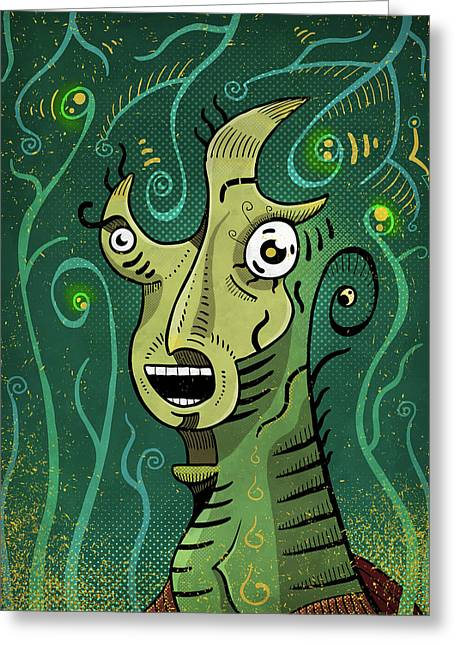 Greeting Card featuring the digital art Scream by Sotuland Art