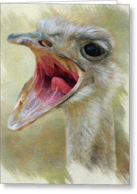 Screaming Ostrich Greeting Card