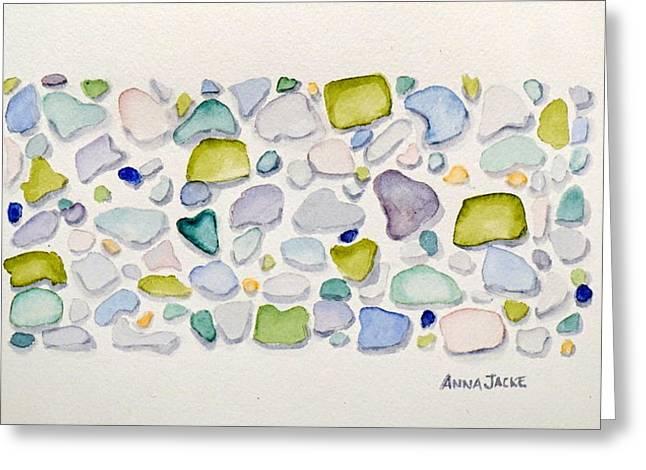 Sea Glass Hearts Greeting Card