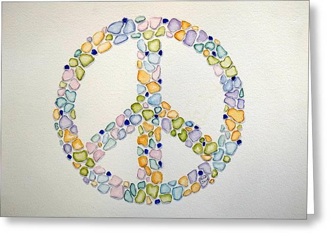Sea Glass Peace Symbol Greeting Card