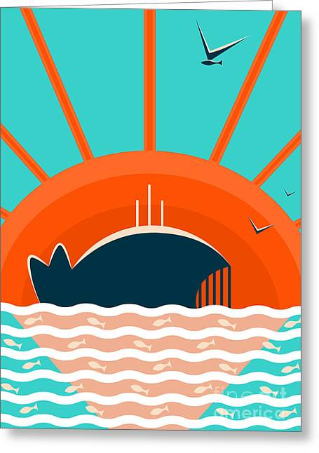 Sea Landscape With Whale Background Greeting Card