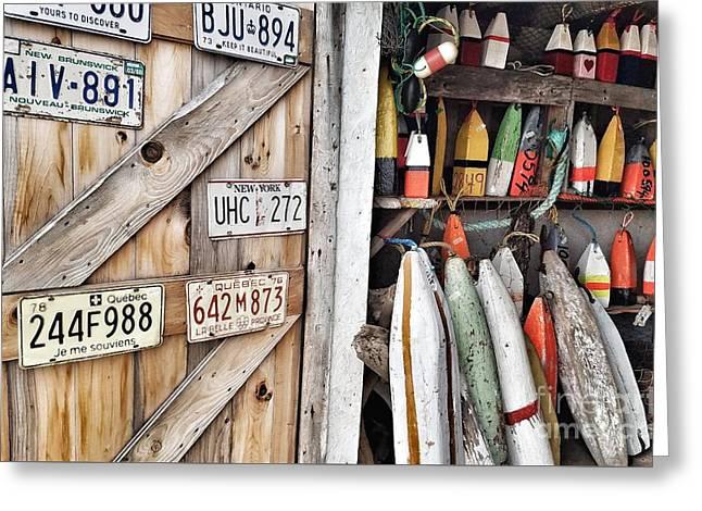 Sea Shack Plates And Buoys Greeting Card