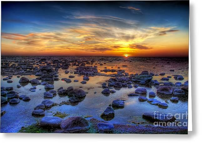 Sea Stones At Sunset Greeting Card