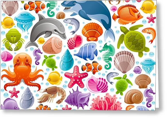 Sea Travel Seamless Background With Greeting Card